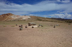 The sacrificial altar at the Chincana Ruins on the Isla del Sol on Lake Titicaca Stock Photos