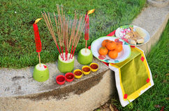 Sacrificial offering Chinese Culture in The Qingming Festival Royalty Free Stock Photography
