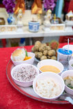 Sacrificial offering foods for Thai joss house Stock Image