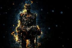 Sacrificio quemado hombre de la llama que aguanta Foto de archivo libre de regalías