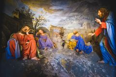 Sacro Monte di Varallo biblical scene representation presepe of Jesus Christ awakens the sleeping disciples. Biblical scene representation presepe of Jesus royalty free stock photography