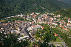 Sacro Monte di Varallo holy mountain in Piedmont Italy - view from the cableway - Unesco world heritage. Sacro Monte di Varallo holy mountain in Piedmont Italy Stock Images