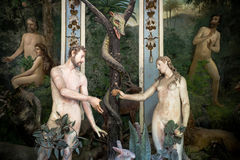 Sacro Monte di Varallo, Piedmont, Italy, June 02 2017 - biblical characters scene representation of Adam and Eve in the Eden royalty free stock photos