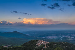 Sacro Monte di Varese and sunset Royalty Free Stock Image