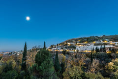 Sacromonte from Avellano Road in Granada, Spain. Royalty Free Stock Image