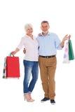 Sacs à provisions aînés de fixation de couples Photographie stock libre de droits