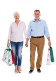 Sacs à provisions aînés de fixation de couples Photographie stock