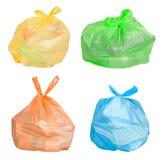 Sacs avec des déchets assortis pour la réutilisation images libres de droits