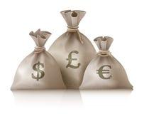 Sacs avec l'euro et la livre du dollar de devises d'argent illustration libre de droits