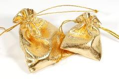 Sacs d'or de bijou Photos libres de droits