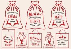 Sacs de Noël et étiquettes, ensemble de vecteur Image stock