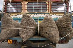 Sacs de pomme de terre sur l'autobus Photos stock