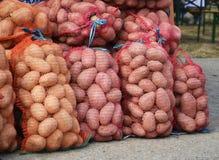 Sacs de pommes de terre au marché Photographie stock