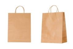Sacs en papier recyclables d'isolement sur le blanc Image libre de droits