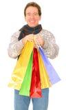 sacs portant des achats aînés d'isolement d'homme Images libres de droits