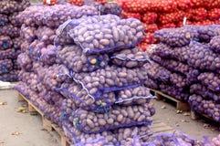 Sacs pourpres de maille avec des pommes de terre Photographie stock