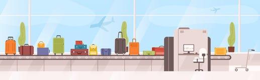 Sacs, valises sur le carrousel de bagages contre la fenêtre avec des avions de vol sur le fond Dispositif avec la bande de convey illustration libre de droits