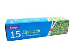 Sacs zip-lock de congélateur dans une boîte en carton recyclable Images stock