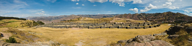Sacsayhuaman全景射击 免版税库存图片