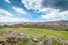 Sacsayhuaman Archeological site, Cusco, Perù. Sacsayhuaman is a very important incas archeological site located near Cusco.nIt`s characterized for the big stone Stock Photos