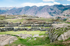 Sacsayhuaman Archeological site, Cusco, Perù. Sacsayhuaman is a very important incas archeological site located near Cusco.nIt`s characterized for the big stone Royalty Free Stock Image