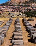 Sacsayhuaman Archaeological site, Peru. Sacsayhuaman  is a citadel on the northern outskirts of the city of Cusco, Peru, the historic capital of the Inca Empire Stock Images