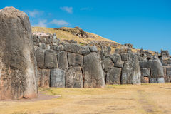 Sacsayhuaman ruins in the peruvian Andes at Cuzco Peru Royalty Free Stock Photo