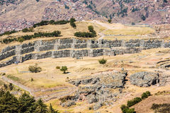 Sacsayhuaman ruins in the peruvian Andes at Cuzco Peru Stock Photo