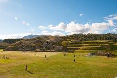 Sacsaywaman fördärvar i den sakrala dalen, Peru Fotografering för Bildbyråer