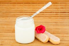 Sacuda con el yogur y la cuchara casera, galleta y flor Foto de archivo