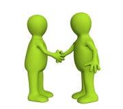 Sacuda la mano de dos personas 3d de color verde Foto de archivo libre de regalías