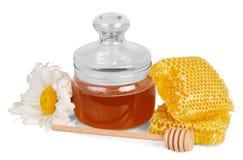 Sacuda la miel, el cazo del panal, madera y la margarita aislados en blanco Imágenes de archivo libres de regalías