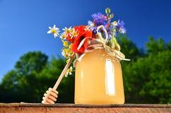 Sacuda por completo de cazo fresco delicioso de la miel de la miel y de flores salvajes en colmenar Fotografía de archivo