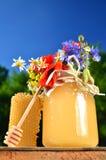 Sacuda por completo de la miel fresca deliciosa, del pedazo de cazo de la miel del panal y de flores salvajes en colmenar Fotos de archivo