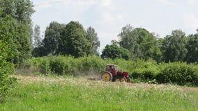 Sacude la grada roja vieja del tractor de las flores blancas del prado la tierra metrajes