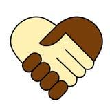 Sacudida de la mano entre el hombre blanco y negro libre illustration