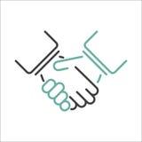 Sacudida de vector de las manos stock de ilustración