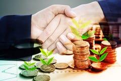 Sacudida y árbol de la mano del hombre de negocios dos que crecen en la pila de éxito de las monedas y de concepto de la sociedad fotografía de archivo libre de regalías