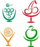 Sacudidas de fruta e iconos de los cocteles -2 Imágenes de archivo libres de regalías