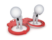 Sad 3d small people, handcuff and red sand glass. Sad 3d small people and iron handcuff.Isolated on white background Royalty Free Stock Images