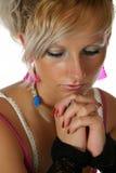Sad. Blond woman, close-up portrait Stock Image