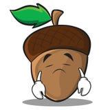 Sad acorn cartoon character style Royalty Free Stock Images