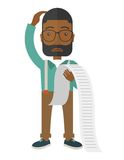 Sad african-american employee holding a list of Royalty Free Stock Photo