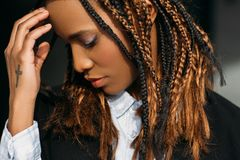 Sad African American girl. Problems in life Royalty Free Stock Photo