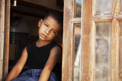 Sad african american little boy Royalty Free Stock Image