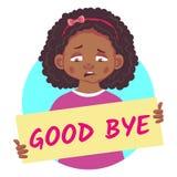 Sad African girl holding poster-Good bye. Good bye banner. Sad African or Afro-American girl holding poster - Good bye. Vector Illustration Stock Photo