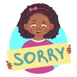 Sad african girl holding sorry poster Royalty Free Stock Photo