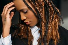 SAD afrikansk amerikanflicka Problem i liv royaltyfri foto