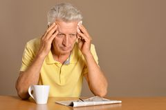 Sad aged man Stock Image