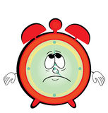 Sad alarm clock cartoon Royalty Free Stock Photos
